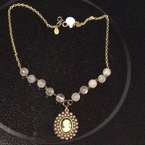 Rotsina, Gold Tone Necklace, Lilac Color , Beads